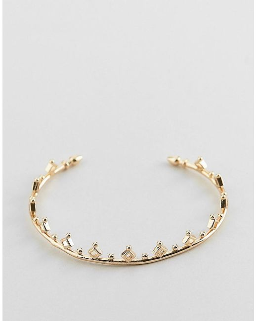 ASOS - Metallic Cuff Bracelet With Ball And Diamond Detail In Gold - Lyst
