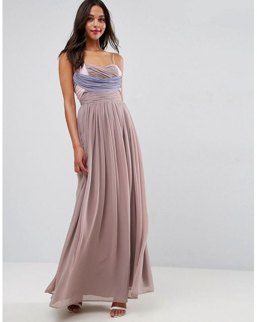 Asos wedding ruched colour block maxi dress in purple lyst for Purple maxi dresses for weddings