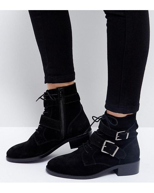 asos suede ankle boots in black lyst