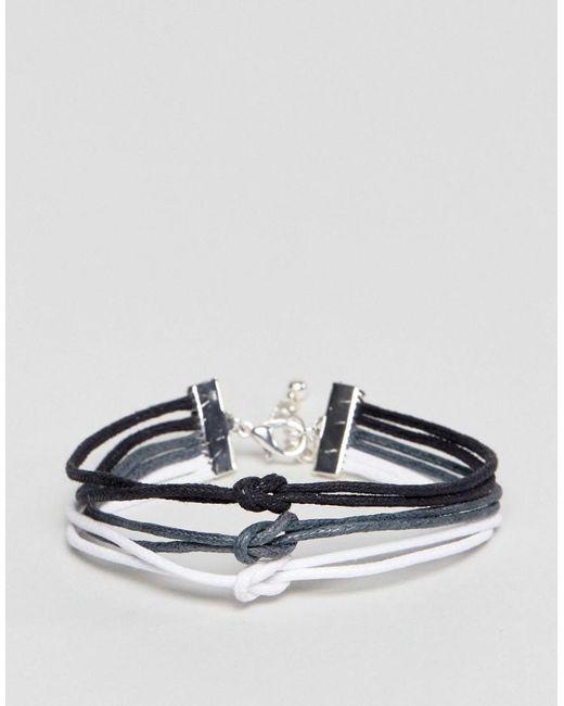 ASOS | Multicolor Triple Bracelet In Black Grey And White | Lyst