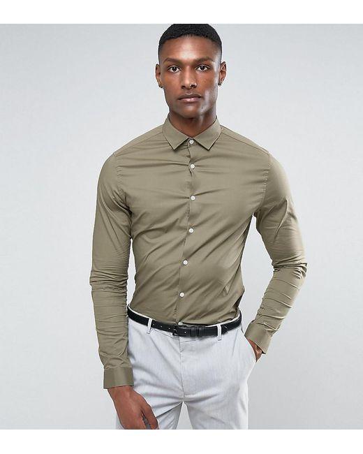 ASOS | Green Tall Skinny Shirt In Light Khaki for Men | Lyst