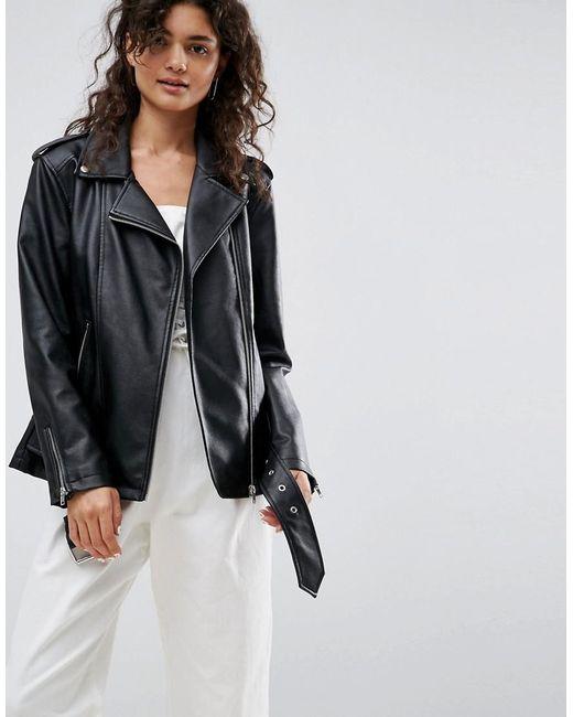 ASOS   Black Longline Biker Jacket In Faux Leather   Lyst