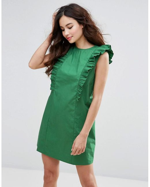 Fashion Union   Green High Neck Dress With Frills   Lyst