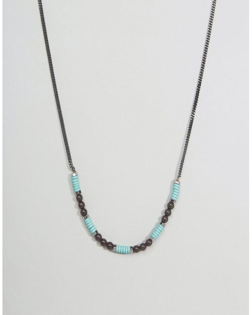 Icon Brand   Metallic Bead & Chain Necklace In Silver for Men   Lyst