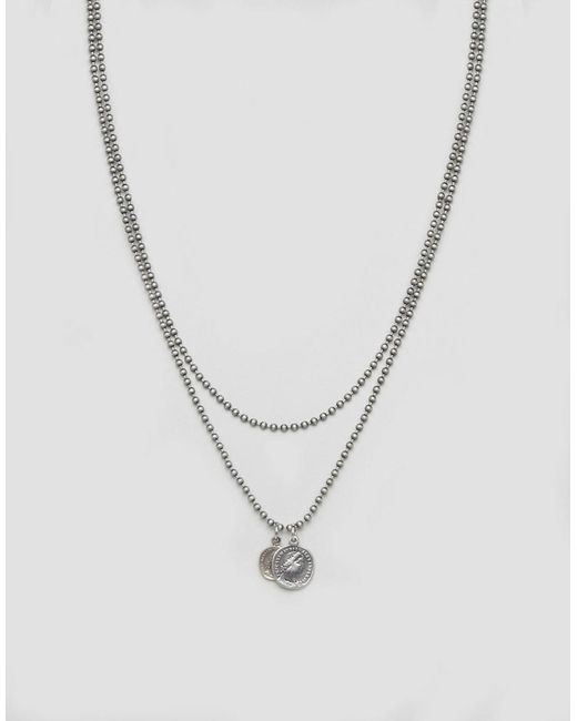 ASOS | Metallic Neckchain Pack With Burnished Coins for Men | Lyst