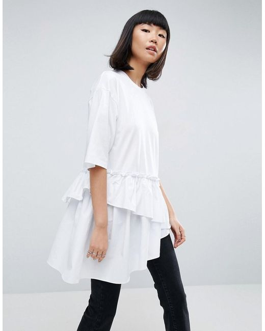 ASOS | White T-shirt With Contrast Layered Frill Hem | Lyst