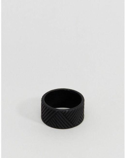 ASOS | Matte Black Ring With Emboss for Men | Lyst