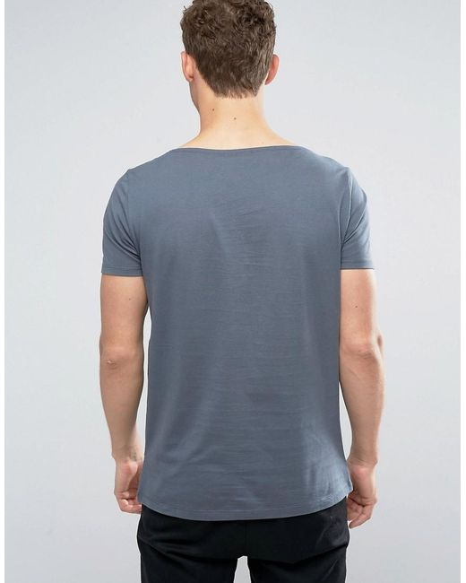 Asos T Shirt With Boat Neck In Blue For Men Lyst