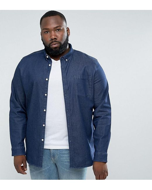 ASOS | Blue Plus Slim Denim Shirt With Stretch With Chest Pocket In Rinse Wash for Men | Lyst