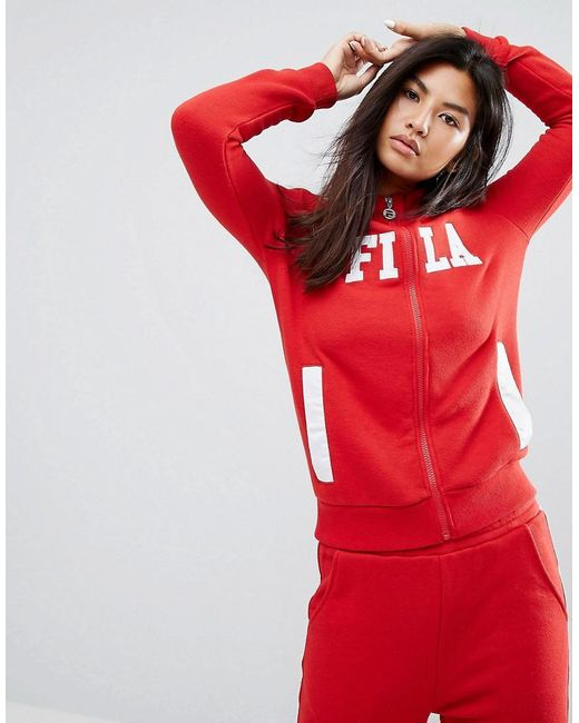 Fila | Red Tracksuit Top With Zip Front And Front Logo | Lyst