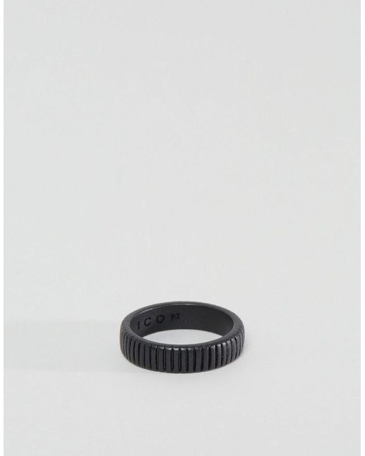 Icon Brand | Segregated Band Ring In Black for Men | Lyst