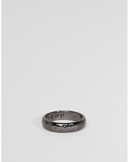 Icon Brand | Metallic Hammered Band Ring In Gunmetal for Men | Lyst