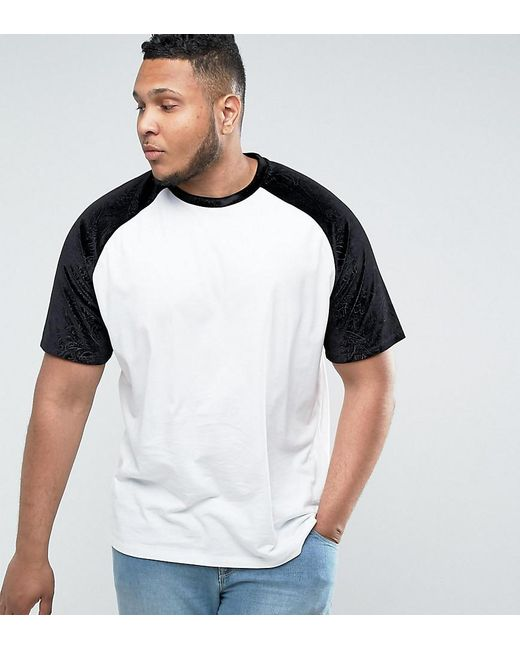 ASOS | White Plus Oversized Raglan T-shirt With Embossed Floral Velvet Sleeves for Men | Lyst