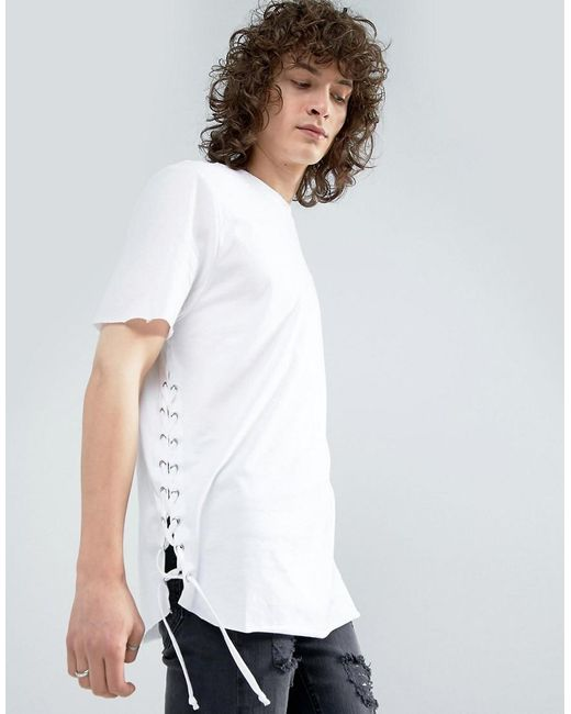 ASOS | White Longline T-shirt With Curved Hem And Eyelet Side Seam for Men | Lyst