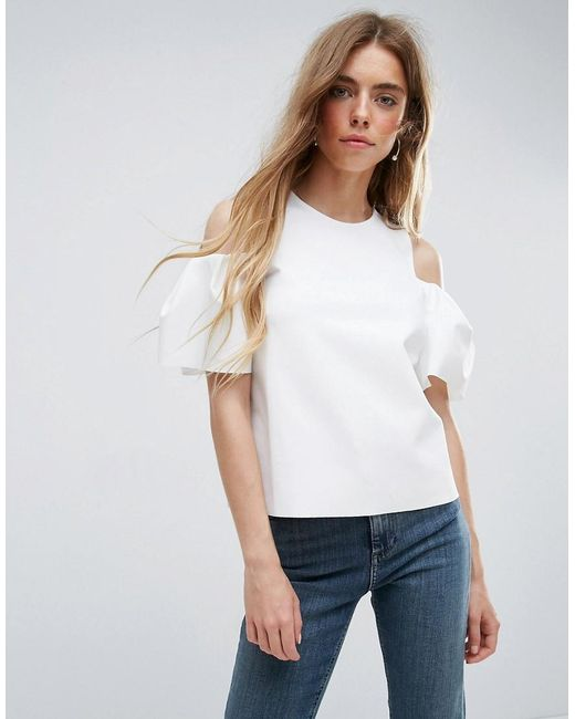 ASOS | White Top With Cold Shoulder Tulip Sleeve | Lyst
