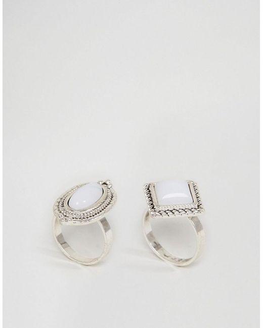 ASOS   Metallic Pack Of 2 Iridescent Stone Rings   Lyst