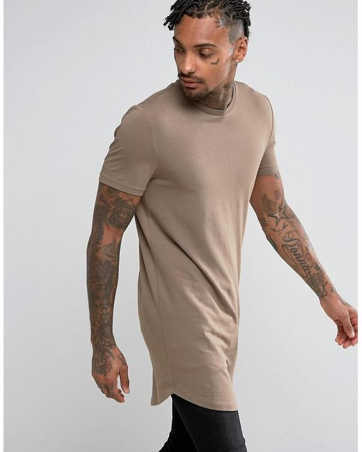 Asos Super Longline Muscle Fit T-shirt With Curved Hem in ...