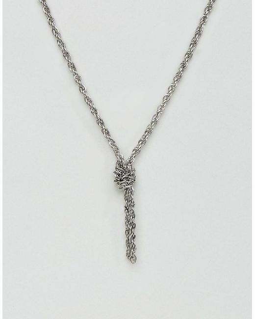 ASOS   Metallic Chain Interest Necklace In Burnished Silver With Knot for Men   Lyst