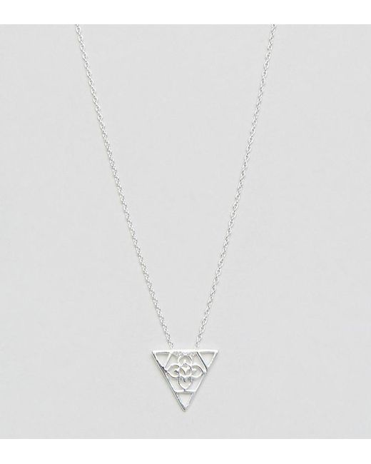 ASOS | Metallic Sterling Silver Triangle Filigree Short Pendant Necklace | Lyst