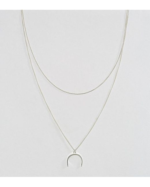 ASOS | Metallic Sterling Silver Open Shapes Multirow Necklace | Lyst