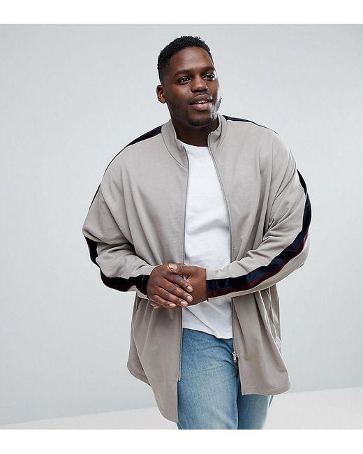 bd65af06338b ASOS - Natural Plus Oversized Longline Velour Stripe Jersey Track Jacket  for Men - Lyst ...