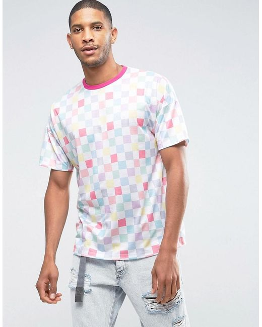 ASOS | White Oversized T-shirt With Pastel Checkerboard Print & Contrast Neck Trim for Men | Lyst
