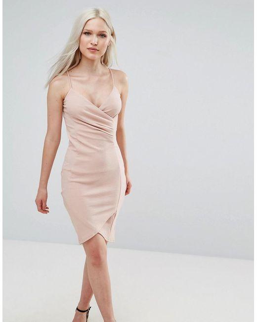 AX Paris | Pink Wrap Front Ruched Dress | Lyst