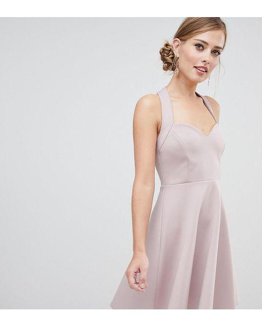 e8bb83f0b4e ASOS - White Halter Neck Skater Mini Dress With Sweetheart Neck - Lyst ...