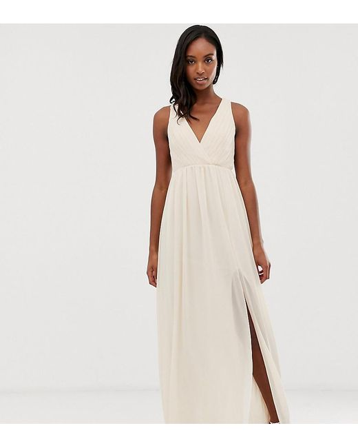297f8a18303b TFNC London - Bridesmaid Exclusive Pleated Maxi Dress With Back Detail In  Pink - Lyst ...