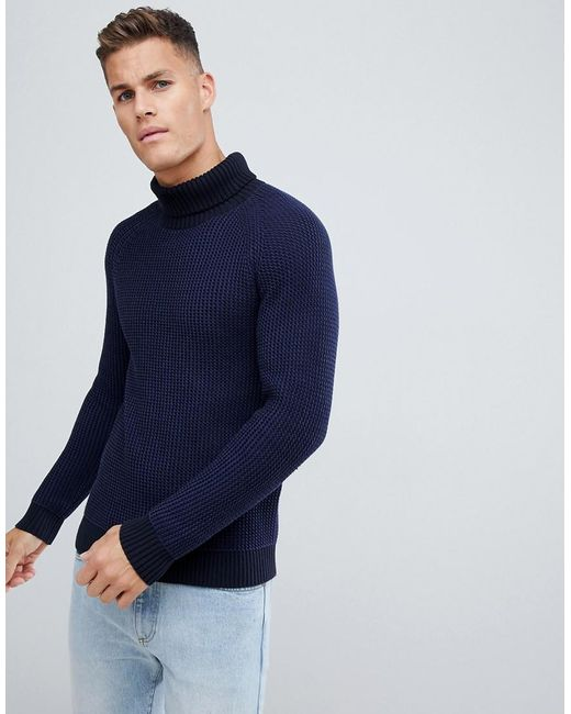 SELECTED - Knitted Roll Neck Sweater In Mixed Blue Knit for Men - Lyst