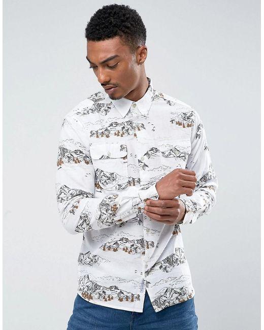 Bellfield | White Shirt In Mountain Print for Men | Lyst