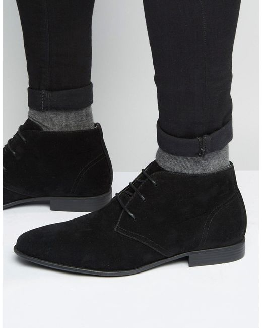 asos chukka boots in black faux suede in black for men lyst. Black Bedroom Furniture Sets. Home Design Ideas