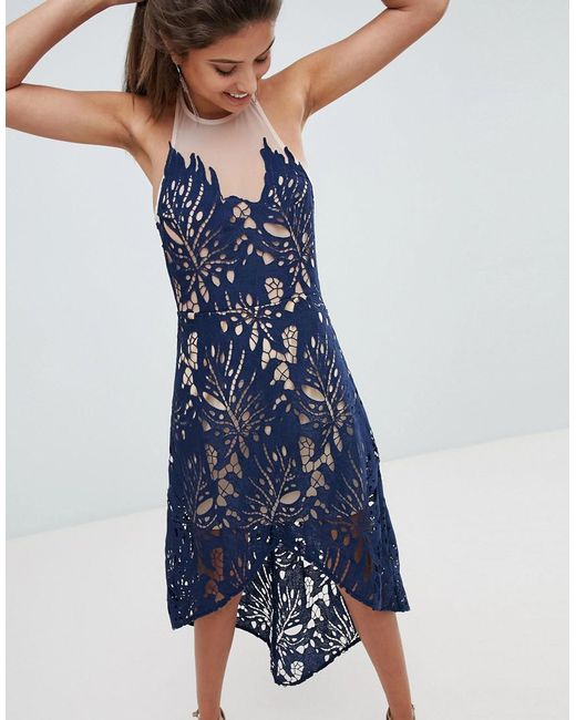 Love Triangle - Blue Cutwork Lace High Low Hem Skater With Sheer Mesh Detail - Lyst
