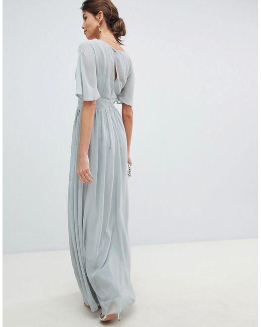 d15f41d925 ... Little Mistress - Gray Waterlily Chiffon Angel Sleeve Maxi Dress - Lyst