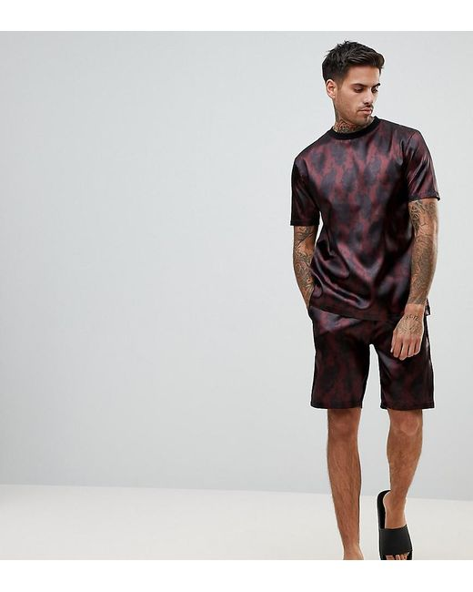 ASOS - Red Pyjama Set In Satin With Paisley Print for Men - Lyst