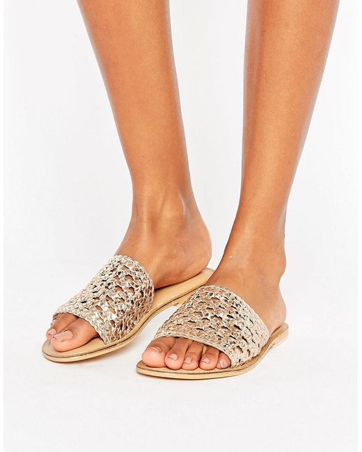 ASOS | Natural Ferdinand Woven Leather Sliders | Lyst