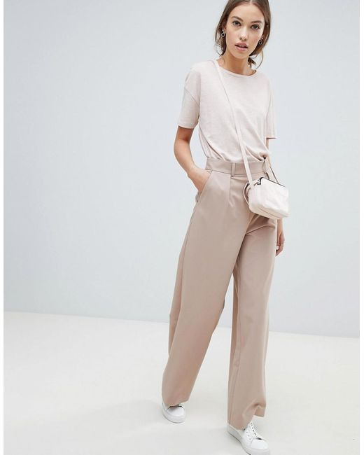 3fae03ad8c1 ASOS - Blue Wide Leg Pants With Pleat Detail - Lyst ...