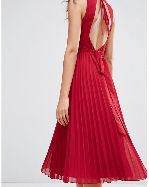 Asos Pleated Midi Dress In Red Lyst