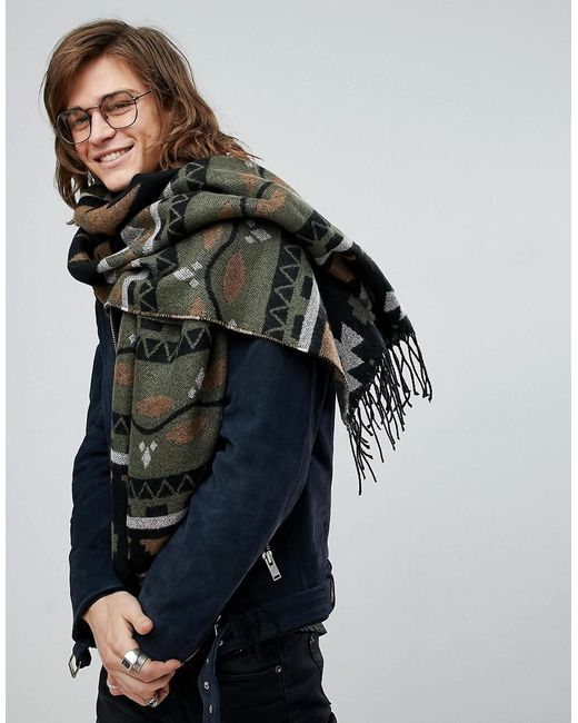 ASOS - Green Blanket Scarf In Khaki With Aztec Design for Men - Lyst