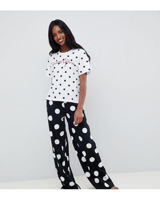 ASOS - Black Asos Design Tall Dream Often Polka Dot Wide Leg Pyjama Set - Lyst