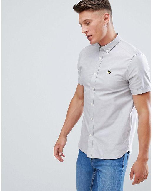 Lyle & Scott - Gray Button Down Short Sleeve Oxford Shirt In Light Grey for Men - Lyst