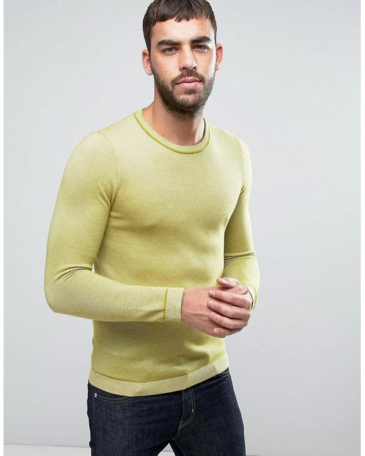 Ted Baker - Yellow Long Sleeve Textured Crew Neck Knit for Men - Lyst
