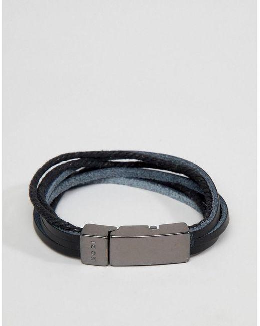Icon Brand - Black Leather Bracelet for Men - Lyst