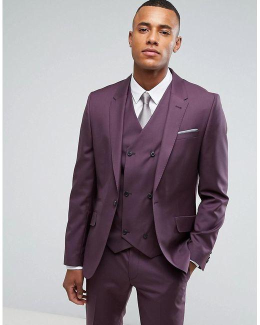 ASOS | Skinny Suit Jacket In 100% Wool In Dusky Purple for Men | Lyst
