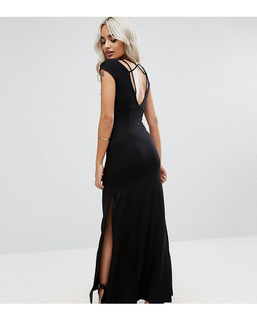 ASOS | Black Super Thigh Split Maxi With Strappy Detail And Open Back | Lyst