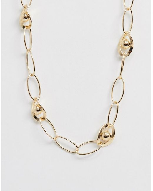 ASOS Metallic Necklace With Interlocking And Open Link 70s Style Chain In Gold