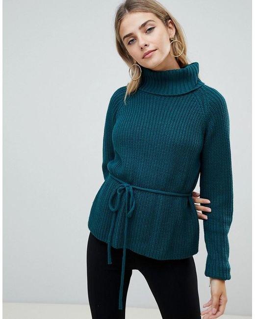 Fashion Union - Green Roll Neck Sweater With Waist Tie - Lyst