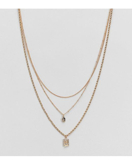 ASOS - Metallic Asos Design Curve Multirow Necklace With Vintage Style Icon Pendants And Mixed Chains In Gold - Lyst