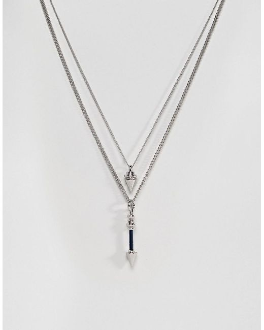ASOS - Metallic Double Layer Necklace With Arrow Pendant - Lyst