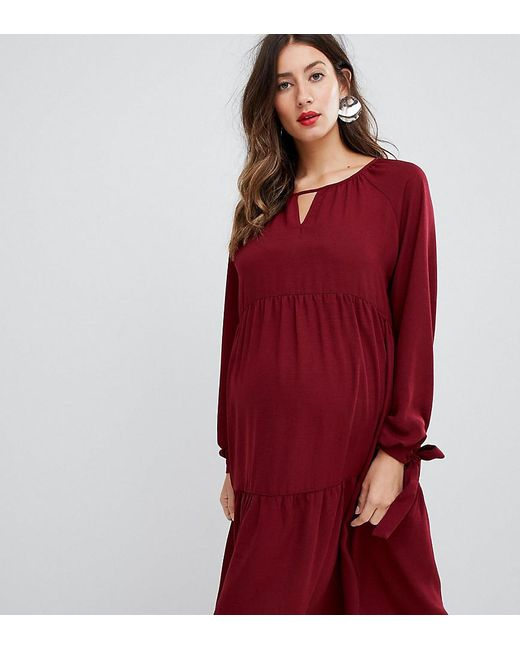 8a2b3ee15f33e ASOS - Asos Design Maternity Tiered Midi Dress With Long Sleeves And Tie  Cuff Detail ...